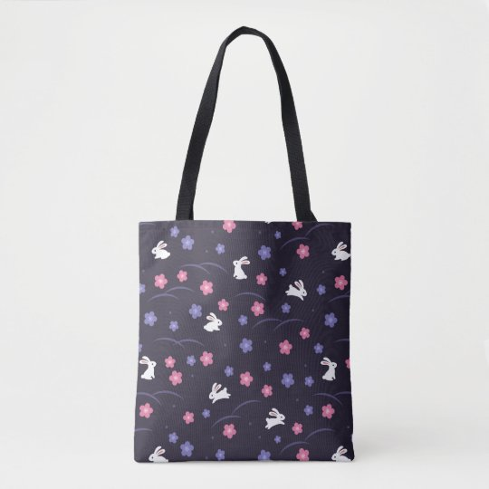 Cute White Bunny Rabbits and Flowers Pattern Tote