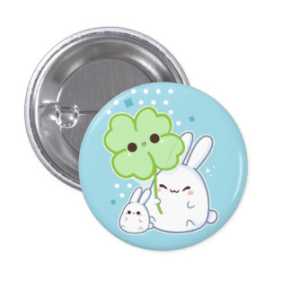 Cute white bunny with kawaii clover 3 cm round badge