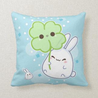 Cute white bunny with kawaii clover cushion