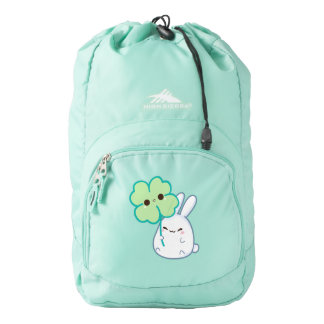 Cute white bunny with kawaii clover backpack
