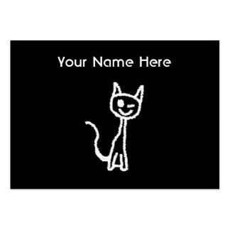 Cute White Cat Cartoon. On Black. Pack Of Chubby Business Cards
