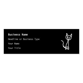 Cute White Cat Cartoon. On Black. Pack Of Skinny Business Cards