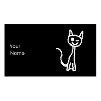Cute White Cat Cartoon. On Black. Pack Of Standard Business Cards