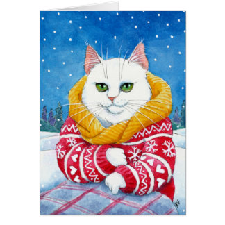 Cute White Cat Christmas or winter card