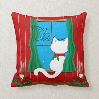 Cute White Cat Merry Christmas Holiday Pillow