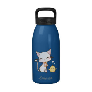 Cute white cat with cute chick and cupcake water bottles