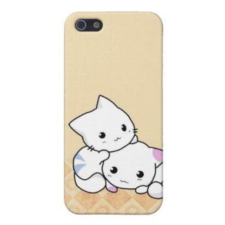 Cute White Cats Beige background i iPhone 5 Cover