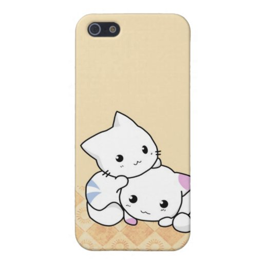 Cute White Cats Beige background i iPhone 5 Cases