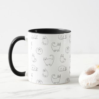 Cute white cats mug