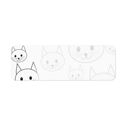 Cute White Cats Pattern. Return Address Label