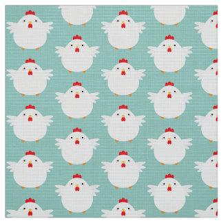 Cute White Chicken on Pale Blue Pattern