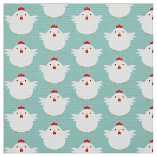Cute White Chicken on Pale Blue Pattern Fabric