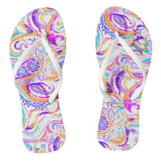 Cute white colorful paisley design flip flops