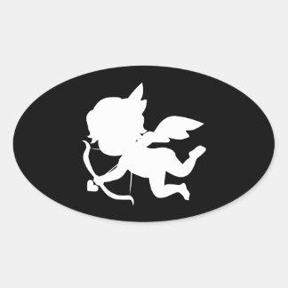 Cute White Cupid Shape Oval Sticker