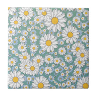 Cute White Daisies on Dusty Teal Blue Green Tile