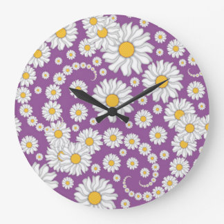 Cute White Daisies on Purple Background Large Clock