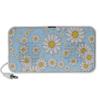 Cute White Daisies on Sweet Baby Blue iPod Speakers