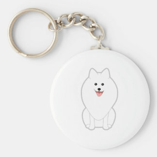Cute White Dog. Spitz or Pomeranian. Key Ring