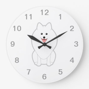 Cute White Dog. Spitz or Pomeranian. Large Clock