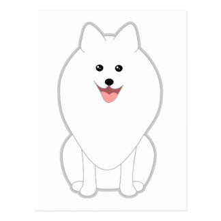 Cute White Dog. Spitz or Pomeranian. Postcard