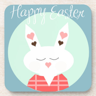 Cute white Easter bunny with pink hearts Coasters