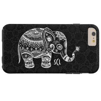 Cute White Elephant Black Background Tough iPhone 6 Plus Case