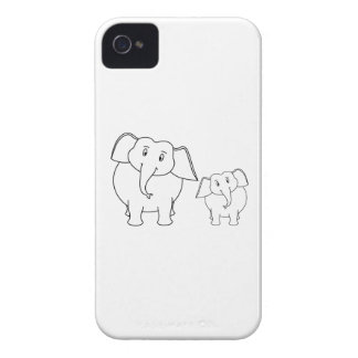 Cute White Elephants. Cartoon. iPhone 4 Cover