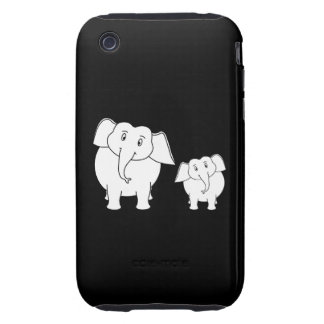 Cute White Elephants on Black. Cartoon. Tough iPhone 3 Case
