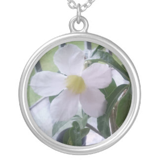 Cute White Flower Picture Girly Necklace