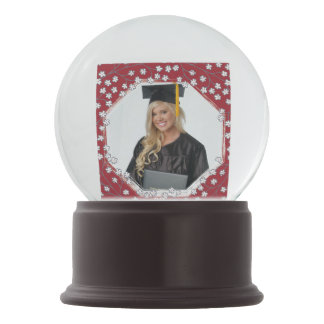 Cute White Flowers Graduation Photo Frame Snow Globes