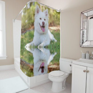 Cute White Fluffy Dog Shower Curtain