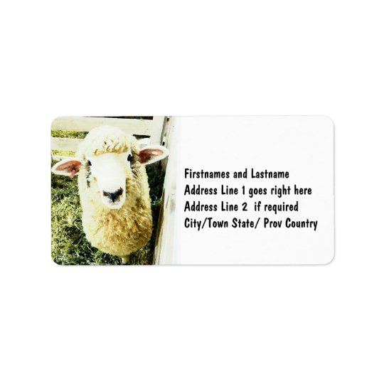 Cute White Fluffy Sheep Label