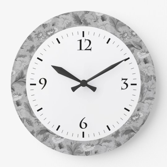 Cute white grey floral background design large clock