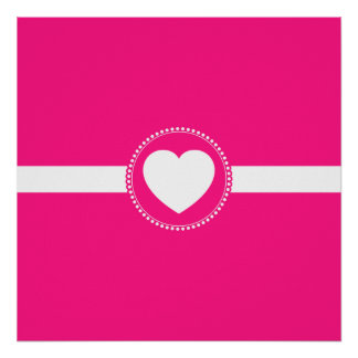 Cute White Heart in Scalloped Circle on Hot Pink Posters