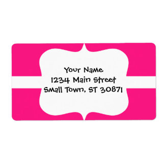 Cute White Heart in Scalloped Circle on Hot Pink Shipping Label