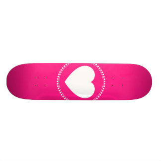 Cute White Heart in Scalloped Circle on Hot Pink Skateboards