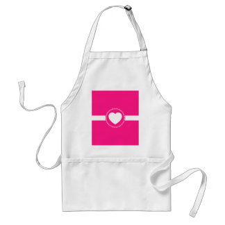 Cute White Heart in Scalloped Circle on Hot Pink Standard Apron