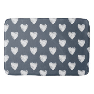Cute White Hearts on Navy Blue Bath Mat