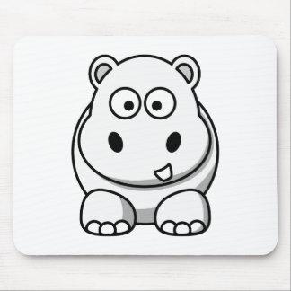 Cute White Hippo Mouse Mat