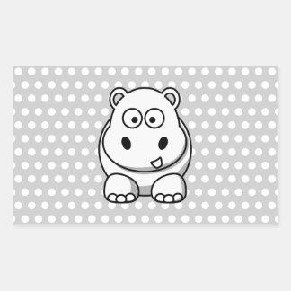 Cute White Hippo Rectangular Sticker