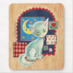 Cute White Kitten and Quilt Patchwork Art Mousepad