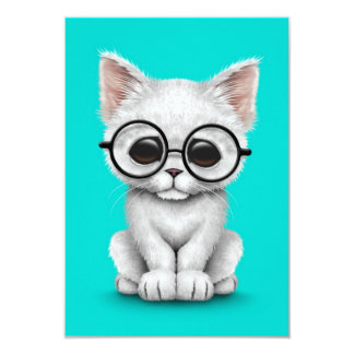 Cute White Kitten Cat with Eye Glasses blue Personalized Invitations
