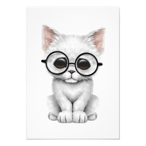 Cute White Kitten Cat with Eye Glasses Announcement