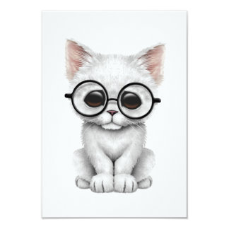 Cute White Kitten Cat with Eye Glasses 3.5x5 Paper Invitation Card