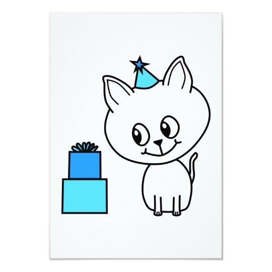 Cute White Kitten in a Blue Birthday Hat. Card