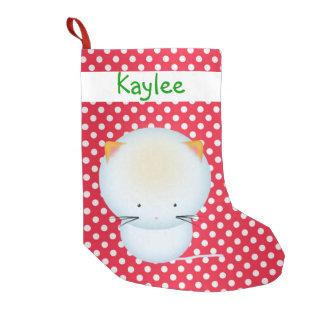 Cute White Kitten on Polka Dots Christmas Stocking