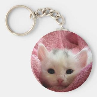 Cute white kitten sleeping in pink blanket keychain