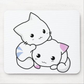 Cute White Kittens Hugging Mouse Pad
