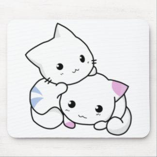 Cute White Kittens Hugging Mousepads