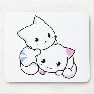 Cute White Kittens Mouse Pad